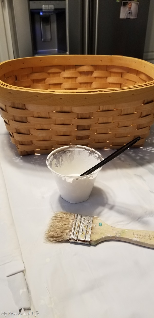 paint woven basket before decoupage