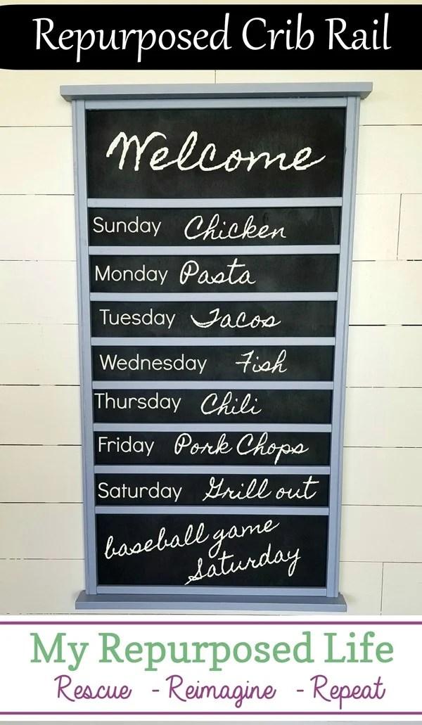 repurposed crib rail menu board MyRepurposedLife