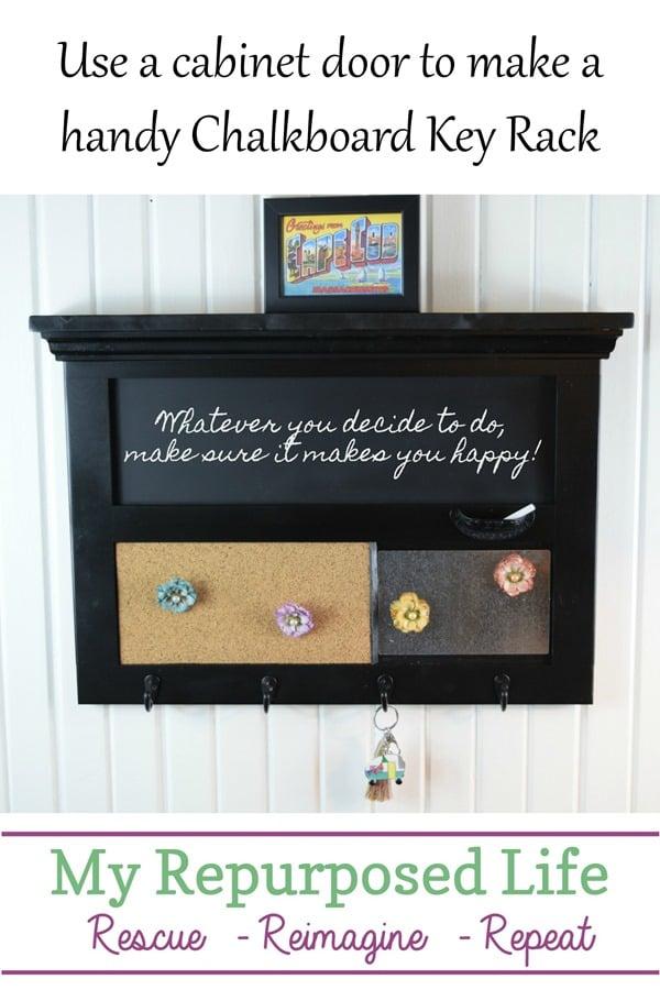chalkboard key rack with cork board and magnetic memo MyRepurposedLife