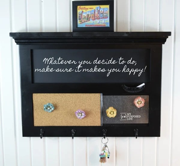 how to make a wall organizer key rack out of a cabinet door #MyRepurposedLife #diy #wall #organizer
