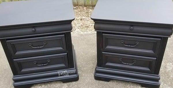 pair of painted vintage black nightstands MyRepurposedLife