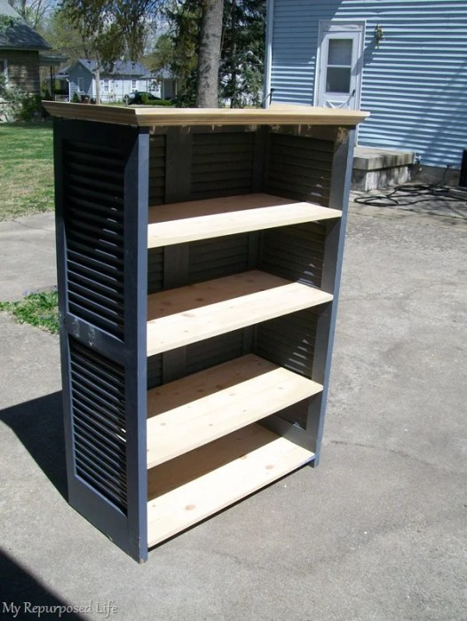 side view of bookcase made from shutters
