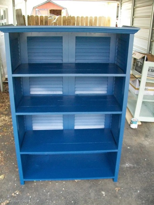 bookcase made from repurposed shutters