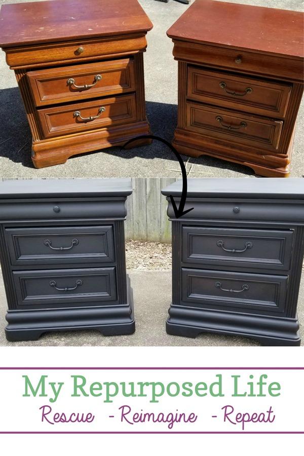 vintage black nightstands before and after #MyRepurposedLife #furniture #makeover #bedroom #nightstands