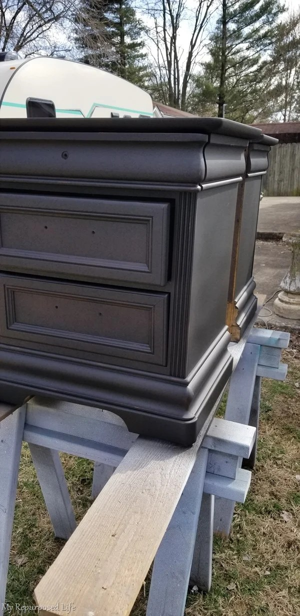 vintage black nightstands to match a passages bed
