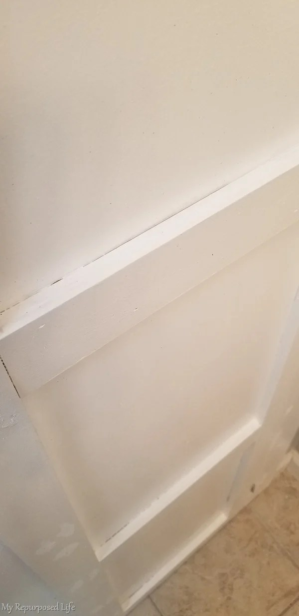 door after patching before caulking