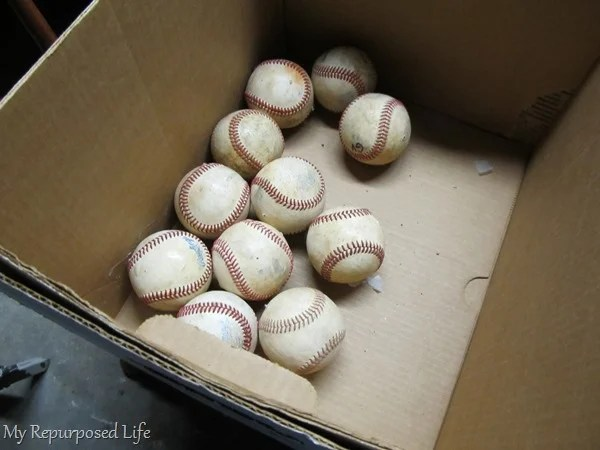 old baseballs to make a wreath