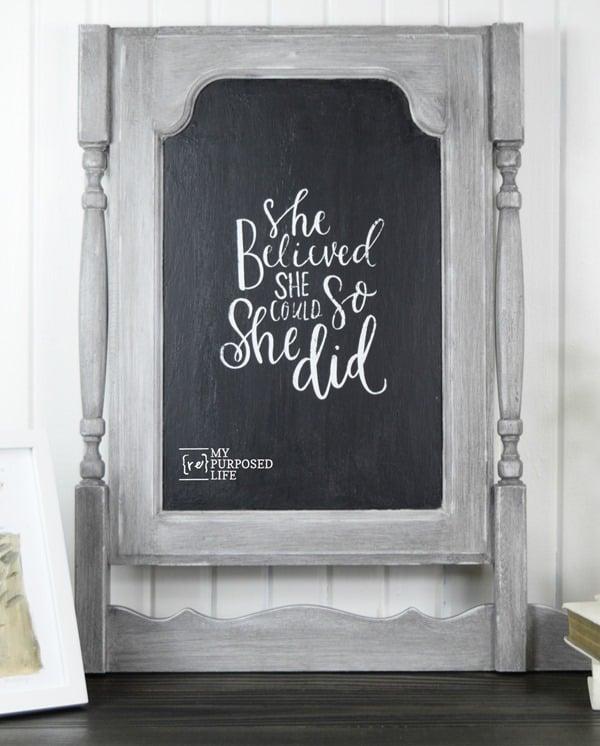 she believed she could so she did chalkboard art on faux dresser harp chalkboard MyRepurposedLife