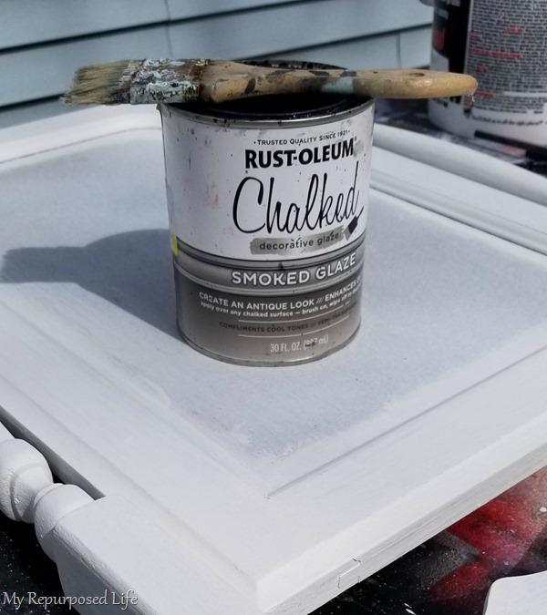 smoked glaze on dresser harp chalkboard