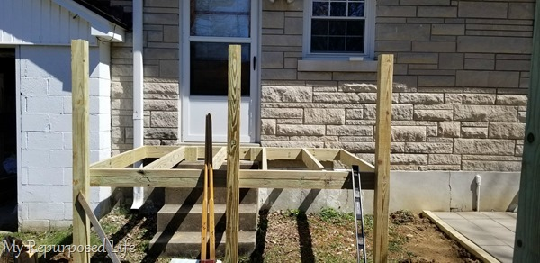 corner posts and joists of small deck