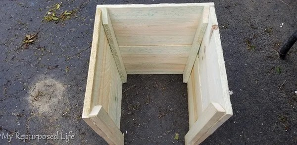 how to make a wooden planter box to cover up plastic flower pots