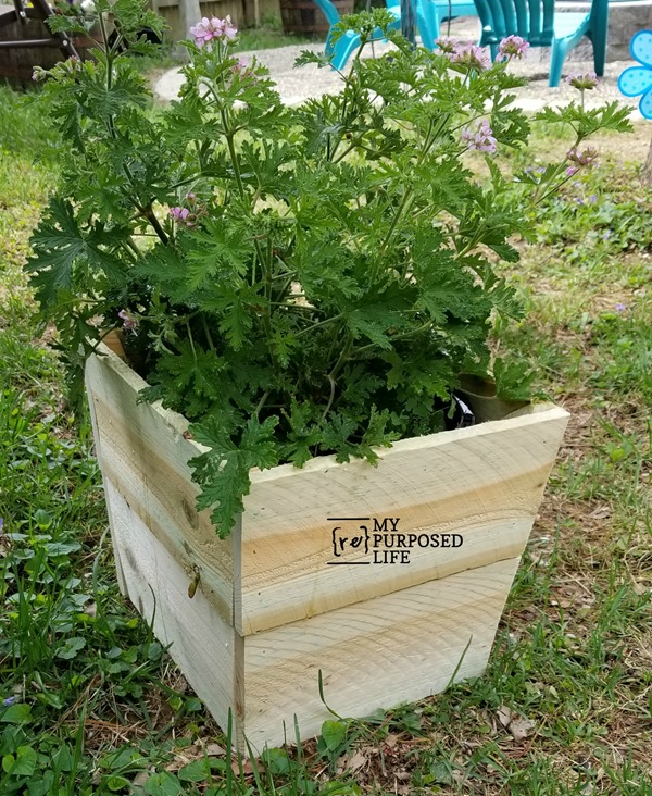 simple wooden planter for plastic flower pot made from fence boards MyRepurposedLife