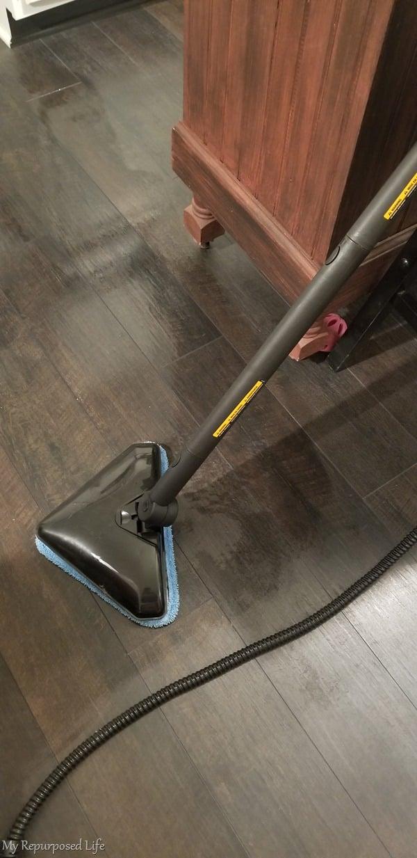steam machine cleans laminate kitchen floor