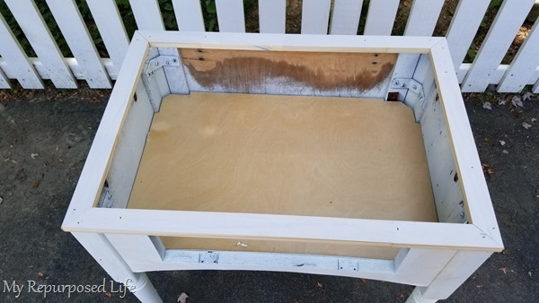 add wood to beef up sewing cabinet base