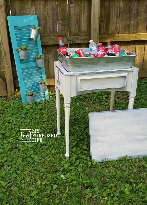 backyard drink station galvanized tub sewing cabinet table MyRepurposedLife