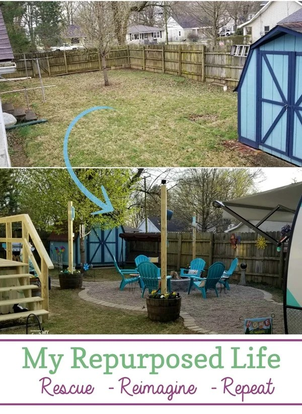 How to complete a cozy backyard camper retreat guest space. Make your backyard your own staycation destination #MyRepurposedLife #outdoors #backyard #camper #camping #spon via @repurposedlife