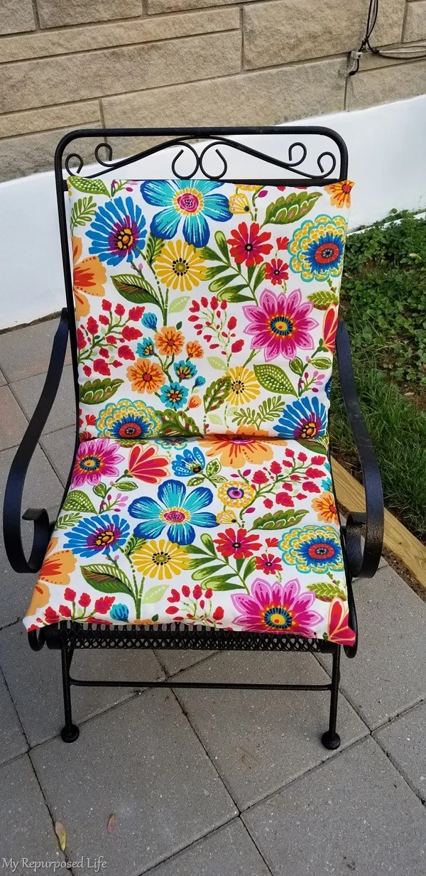 old outdoor cushion with a new cover