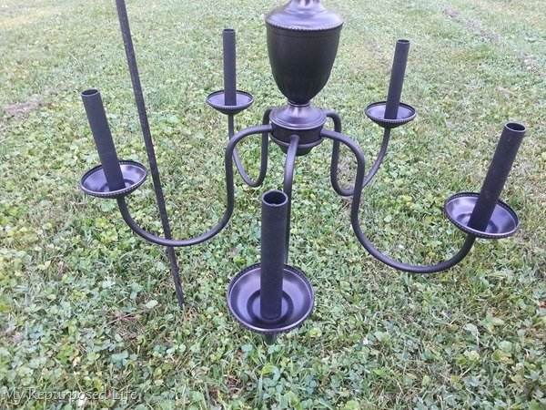 repurposed chandelier with solar lights