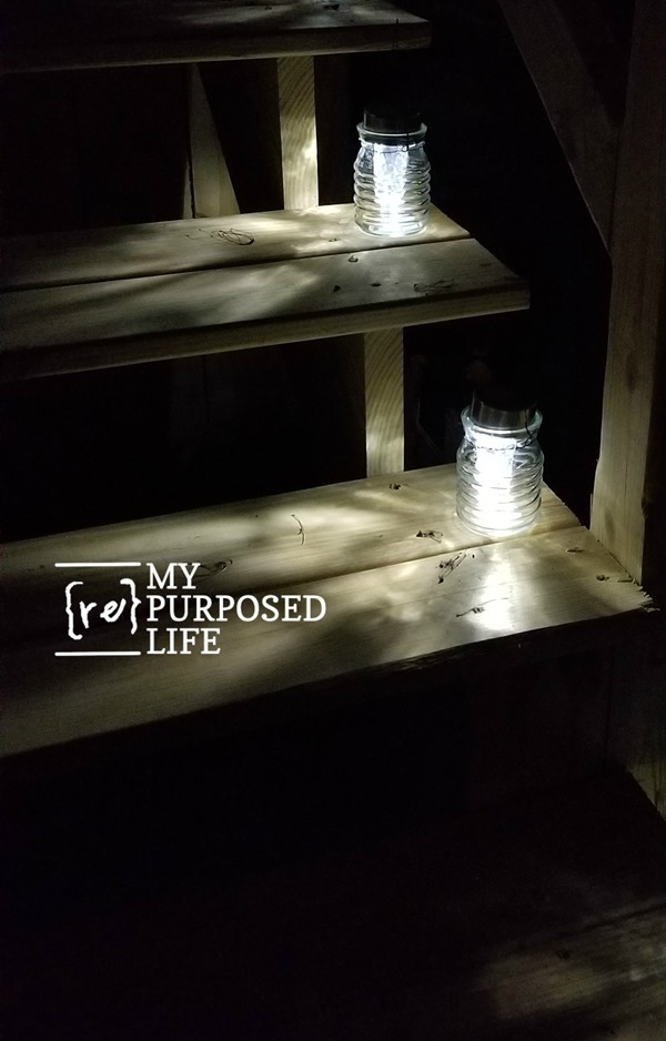 small solar light lanterns on deck stairs MyRepurposedLife