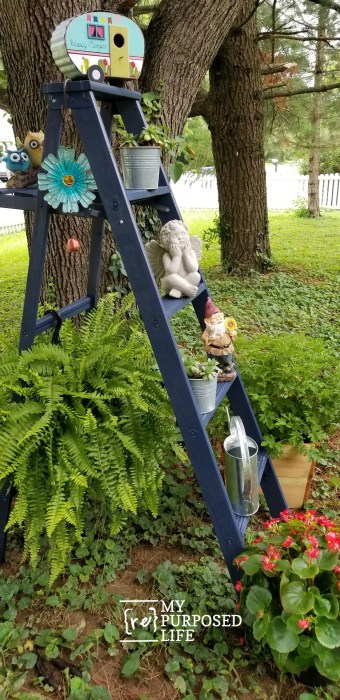 easy wooden ladder project | use as a plant stand in the yard MyRepurposedLife