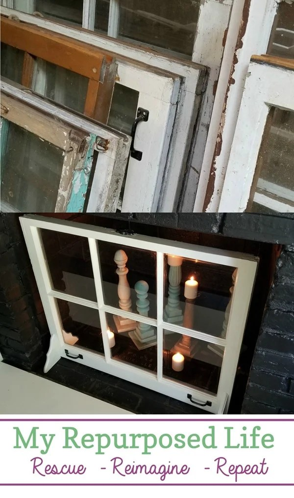 How to make a custom fireplace screen out of an old window. Easy project with step by step directions. This fireplace decor is for when you're not using your fireplace or if it is a non-working fireplace. #MyRepurposedLife #easy #window #project #fireplace via @repurposedlife