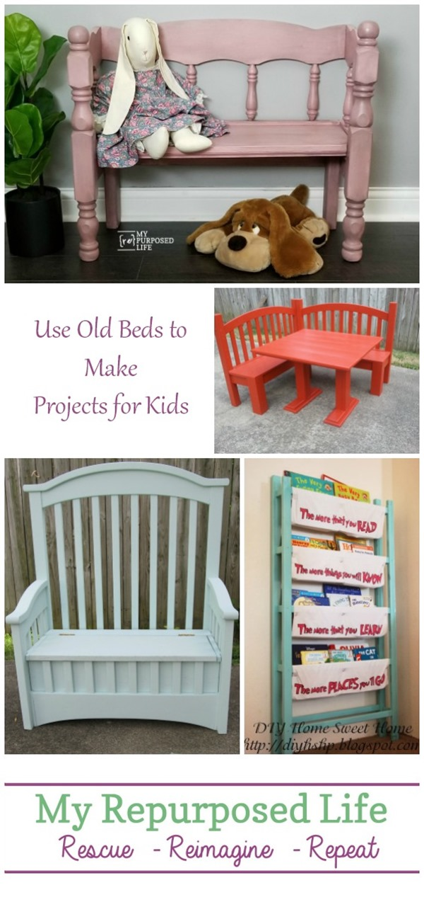 use old beds to make projects for kids MyRepurposedLife
