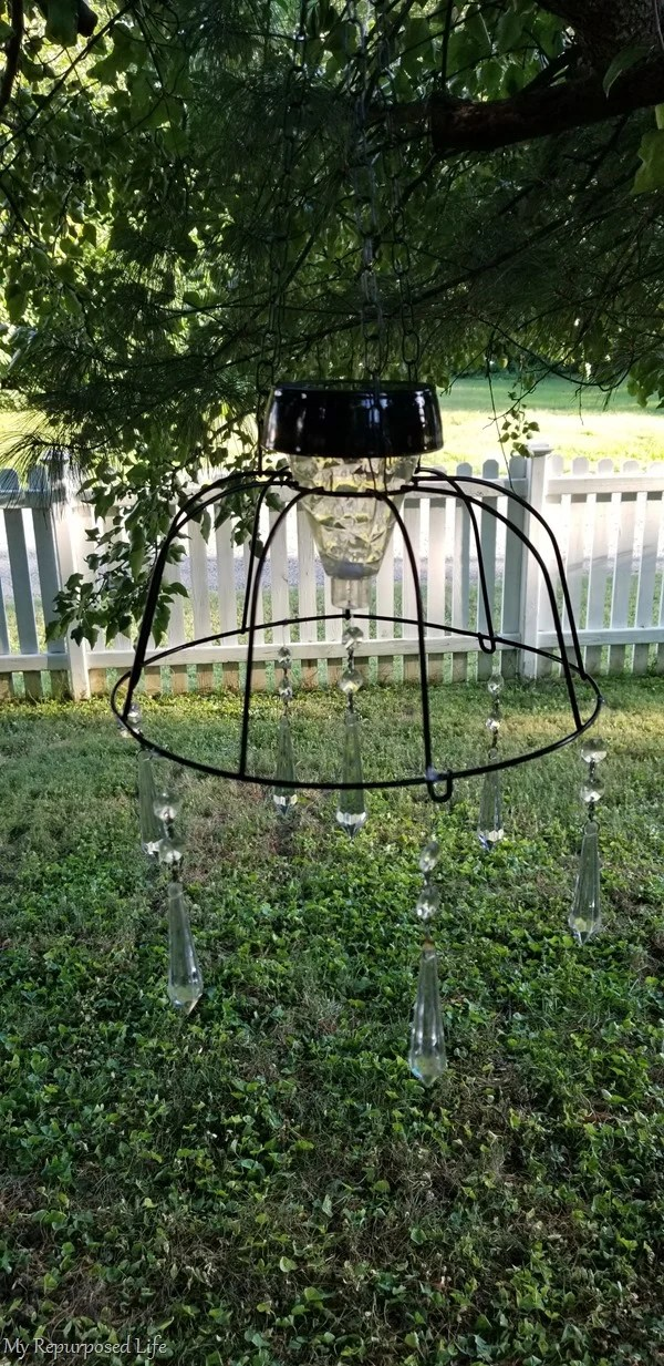 dollar store basket solar light fixture