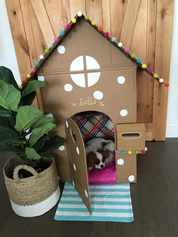 pet playhouse made from cardboard boxes