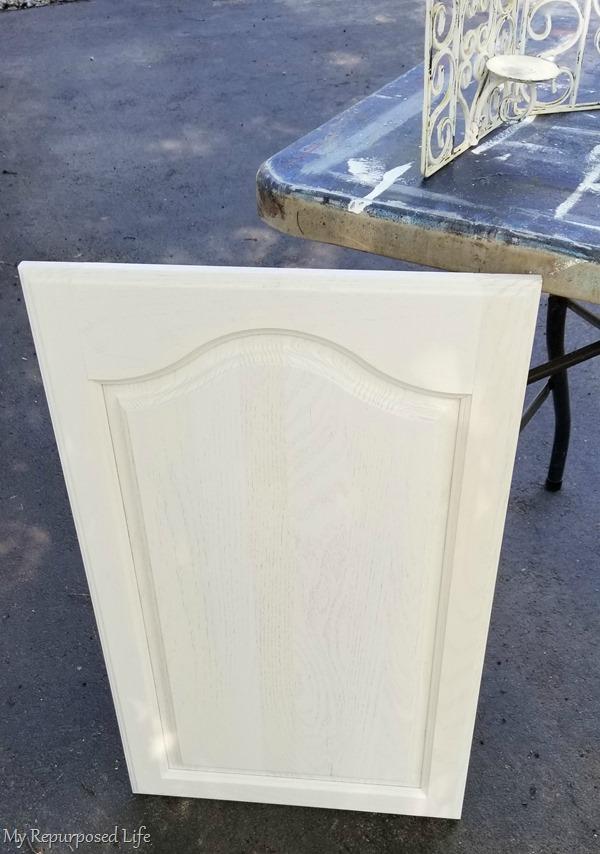 white cabinet door easy chalkboard project