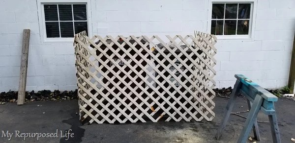 garden lattice garbage can enclosure test fit