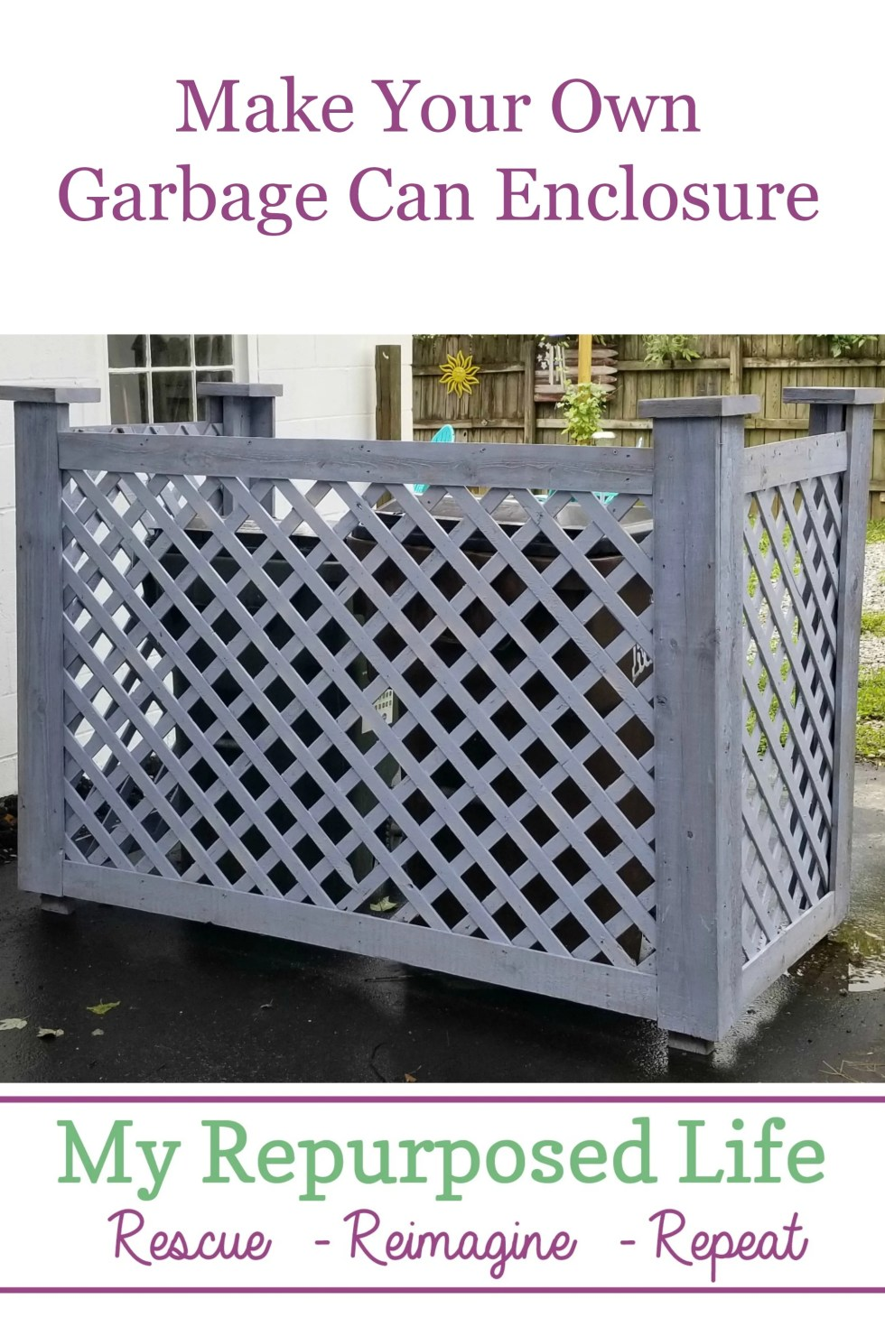 Make your own garbage can enclosure or trash can corral. Improve your curb appeal by hiding those unsightly wastebins! #MyRepurposedLife #garbagecan #curbappeal #eyesore #diy #tutorial via @repurposedlife