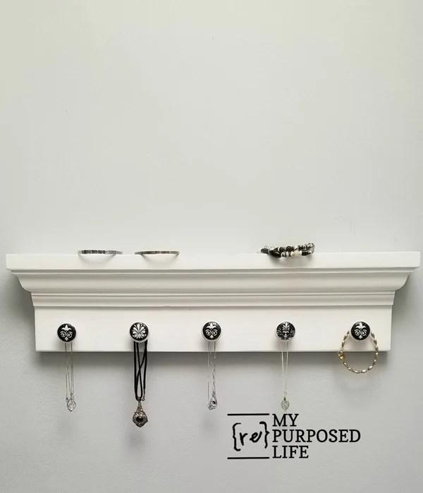 diy jewelry shelf made from mirror molding MyRepurposedLife