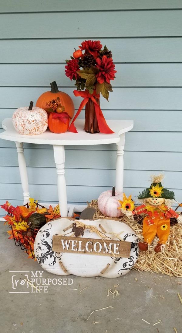 fall porch decor upcycled side table MyRepurposedLife