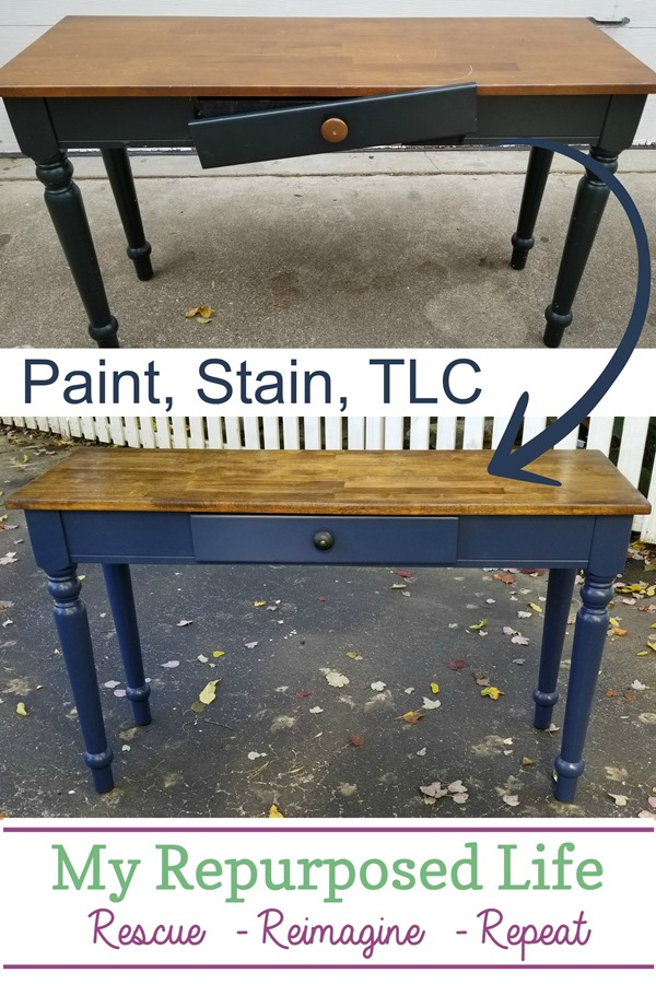 hall table makeover with paint, stain and TLC MyRepurposedLife