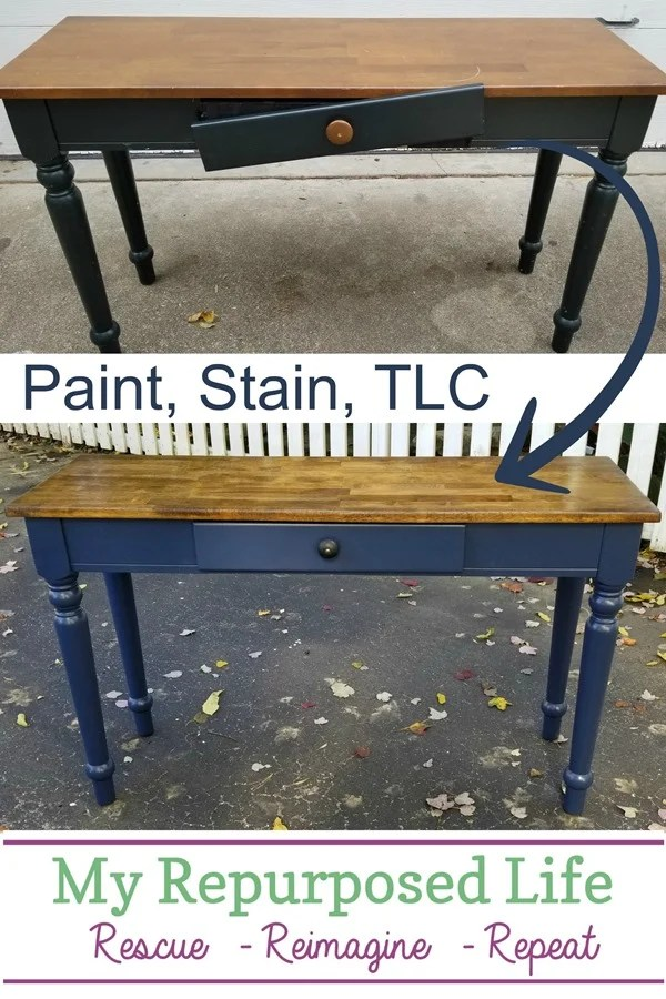 This table was found on the side of the road, but maybe you have a sofa table that needs a new and fresh update. It's easier than you think with these great tips. Change up the color, refinish the top and make any needed repairs. So easy, you can do this in a few hours. #MyRepurposedLife #table #makeover #sofatable #easy #project via @repurposedlife