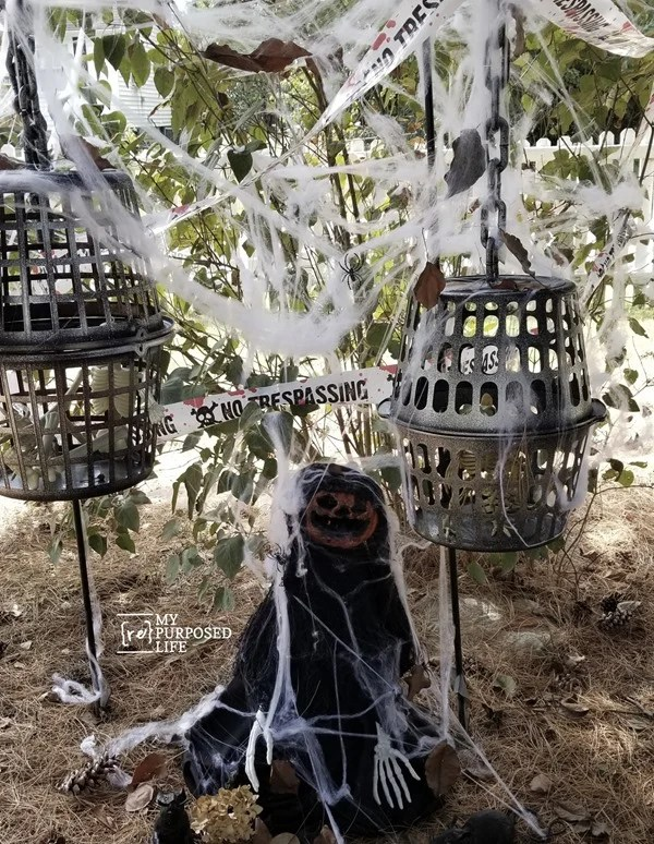 skeleton cages and scary pumpkin head MyRepurposedLife