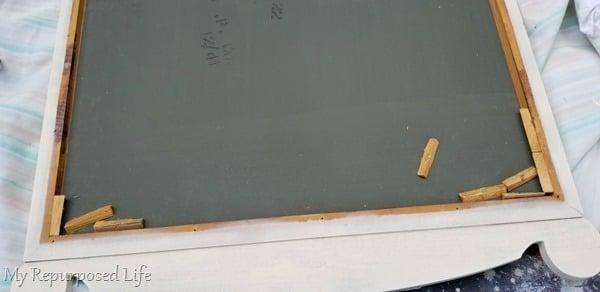 vintage mirror wooden supports