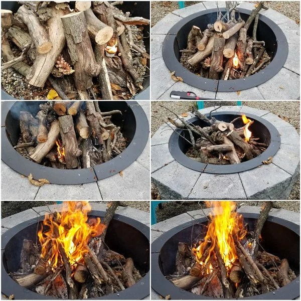 fire pit bonfire using fire starters