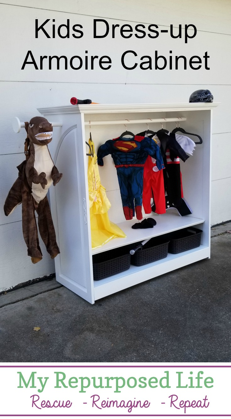 This dress up armoire for kids dramatic play is a diy that was custom made for a grandmother. Although you may not be able to make the exact piece, I hope it inspires you to think outside the box when it comes to reclaimed materials for special projects. #MyRepurposedLife #dressup #kids #dramaticplay #diy #project via @repurposedlife