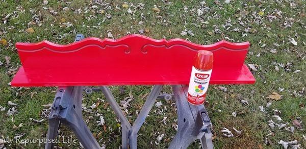 red gloss spray paint Christmas Stocking Shelf