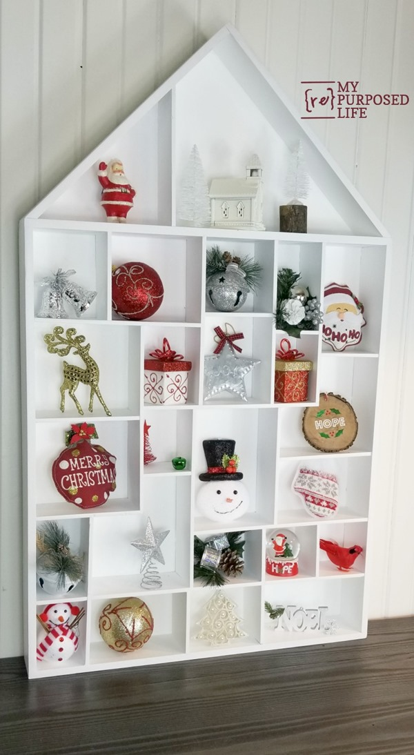 white cubby house wall shelf for Christmas MyRepurposedLife