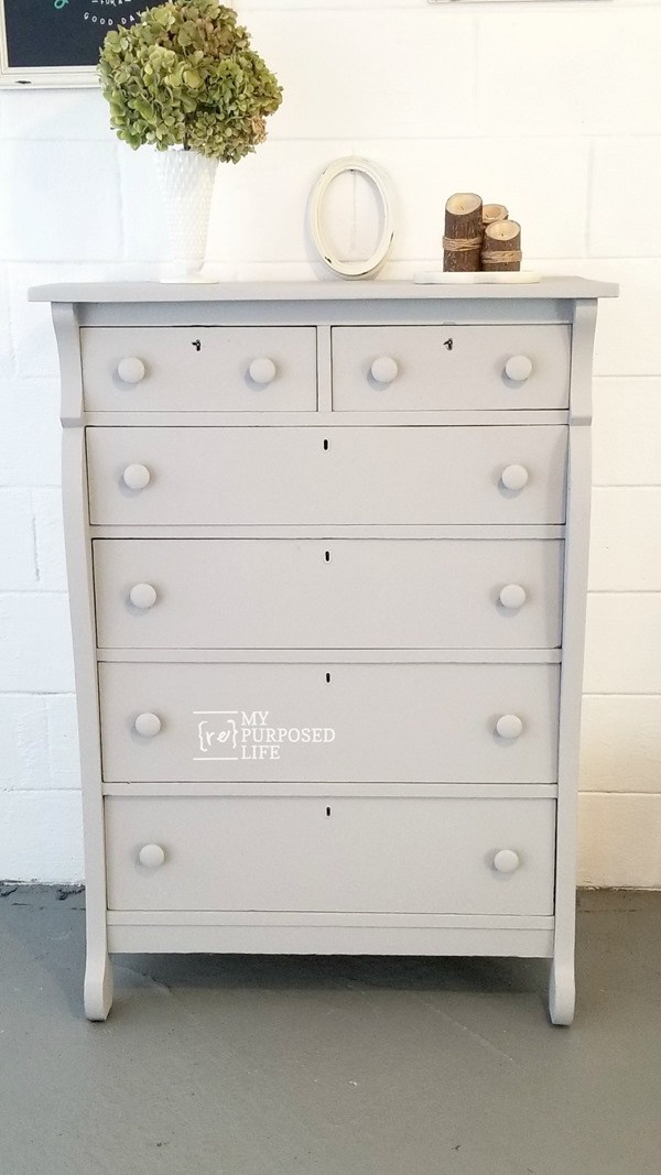 antique chest of drawers makeover in gray flannel MyRepurposedLife