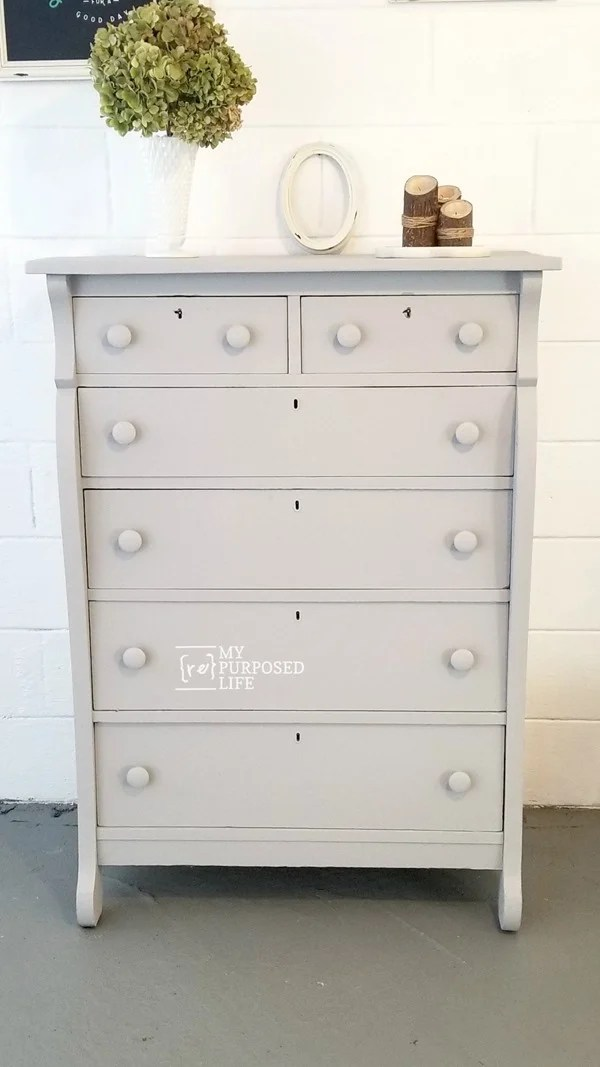 This free chest of drawers gets a new lease on life with a few repairs and some paint. Using a paint sprayer makes this a quick and easy furniture flip! #MyRepurposedLife #furniture #makeover #dresser #diy #paintsprayer #easy #project #furnitureflip via @repurposedlife
