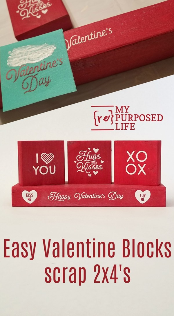 easy valentine blocks using scrap 2x4's MyRepurposedLife