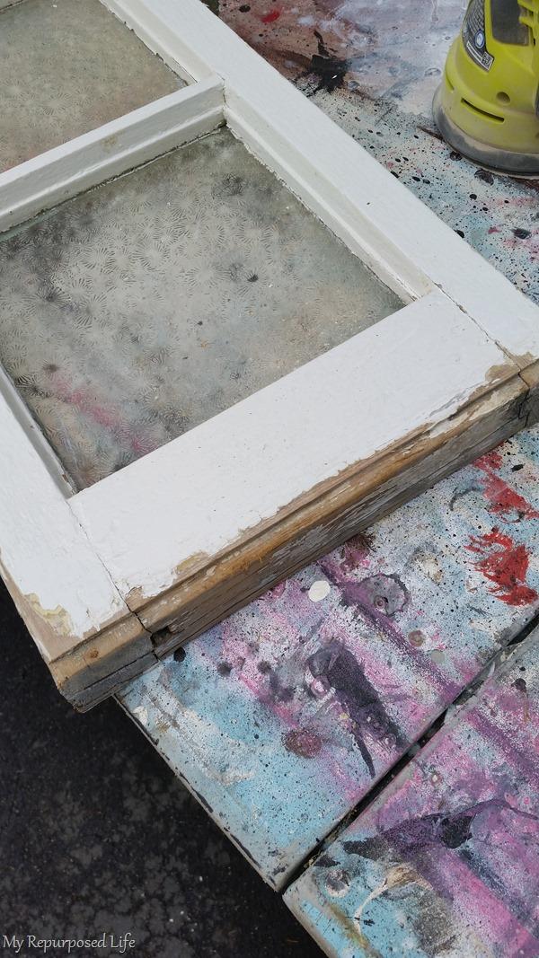 rough edge on a vintage window