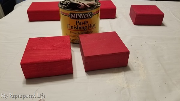 wax chalk painted 2x4 valentine blocks