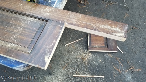 cutting door to make a bench