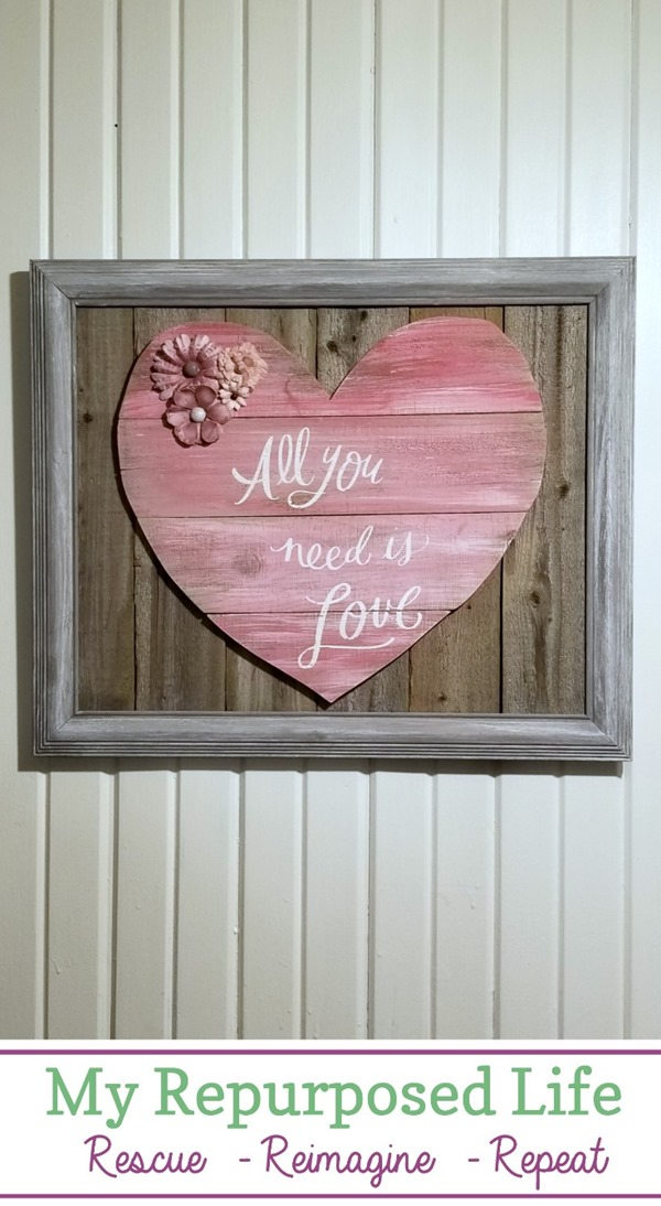 How to make a reclaimed wood heart out of weathered fence boards. You could easily use pallet boards instead. Step by step directions for you to follow. Make one for someone you love today! #MyRepurposedLife #repurposed #reclaimed #wood #valentinesday #love via @repurposedlife