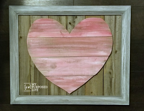 framed reclaimed wooden heart MyRepurposedLife