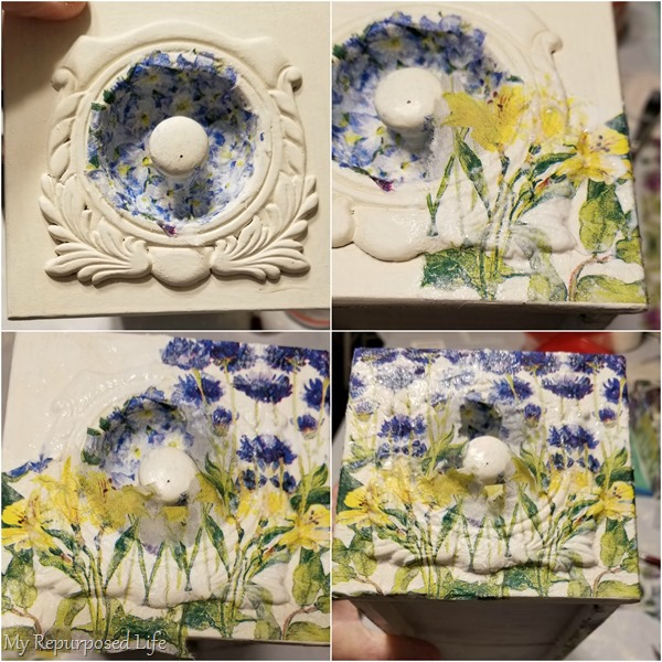 how to decoupage front of sewing drawer